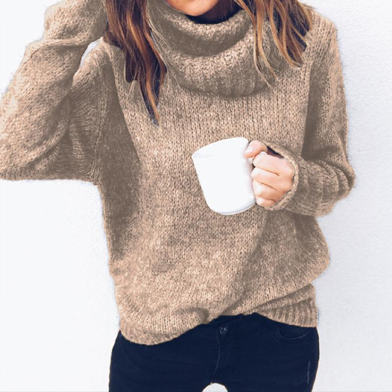 80a25324f9 Turtleneck Long Sleeve Women Sweaters Jumpers Casual Knitted Shirts  Pullovers Plus Size Female Winter Knitting Tops S-3XL M0183 Online with   51.53 Piece on ...