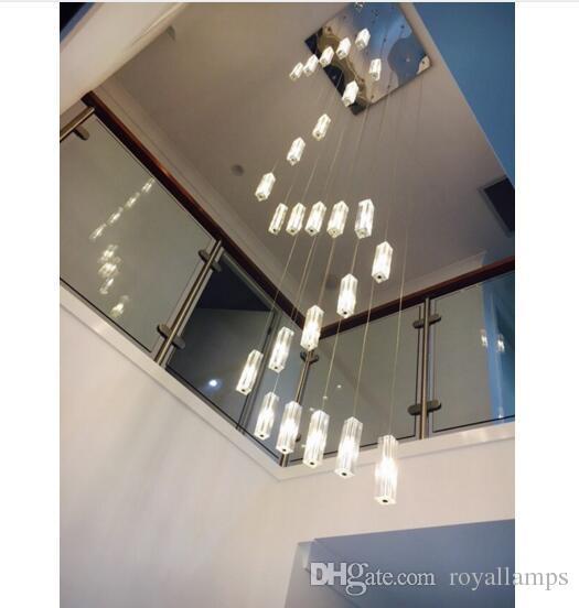 Svitz Stairwell 20 G4 Led Lustre Lighting Modern Led Long Pendant Lights  Spiral Stair Hanging Lamps Large Crystal Pendant Lamp Large Pendant Light  Vintage ...