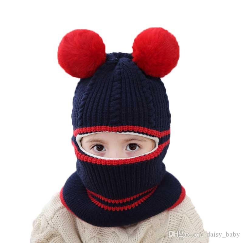 0c467860 2019 Kids Beanie Warm Hat Child Knitted Hooded Scarf Winter Circulal Knit  Striped Two Pom Pom Ear Flaps Cap Scarves Child Accessories MZ6931 From  Daisy_baby ...