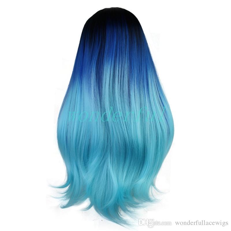 Парик шнурка длинные натуральные волны Ombre синий лонг грейс волос тела синтетические парики фронта шнурка для белых женщин