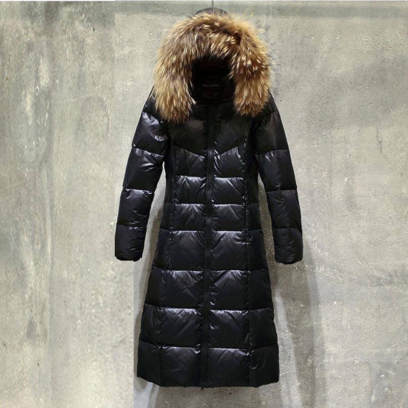 official photos 36ac2 90542 Plus size Piumino invernale Piumino Cappotto Donna Lucido Parka Collo in  pelliccia naturale con collo in pelliccia Cappotti di alta qualità Caldo ...
