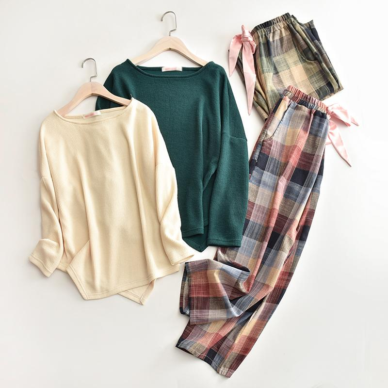 women winter autumn air-conditioned room loose homewears ladies green top plaid wide leg pant sleep cloth female elegant pajamas