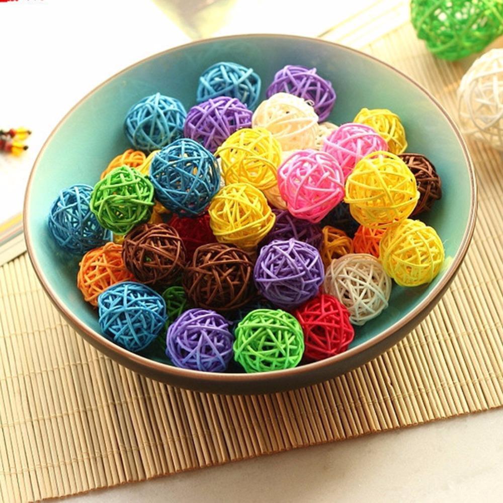 3CM Colorful Rattan Ball DIY Ornaments Sepak Takraw Home Ornament ...