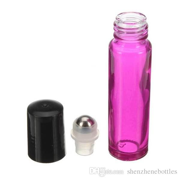 New 10ml Roll On Glass Bottle Pink Empty Fragrances Essential Perfume Essential Oils Glass Bottle Metal Roll Roller Ball