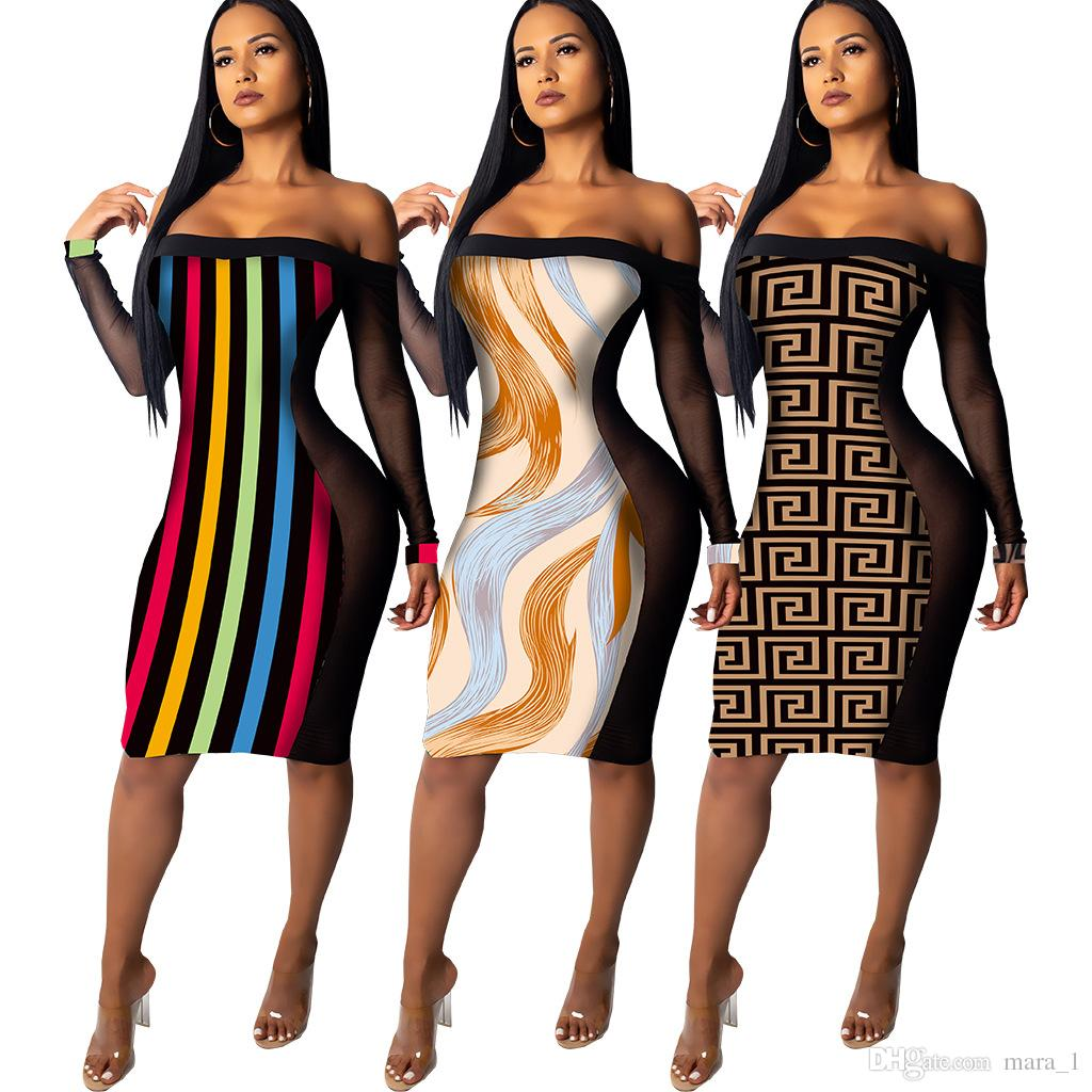c91724011 Women Sheer Midi Dress Long Sleeve Slash Neck Skirts Striped Mesh Long  Dresses Print Designer Women Fall Clothes Sexy Night Club Dresses DHL  Designer ...