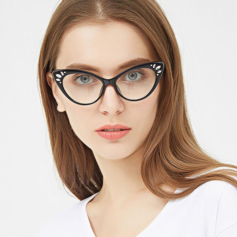 759a674142848 Compre Mulheres Designer De Strass Óculos De Passarela Moda Feminina  Plástico Óculos Frames Transparente Claro Vidro Dos Olhos Quadros 97568 FDY  De ...