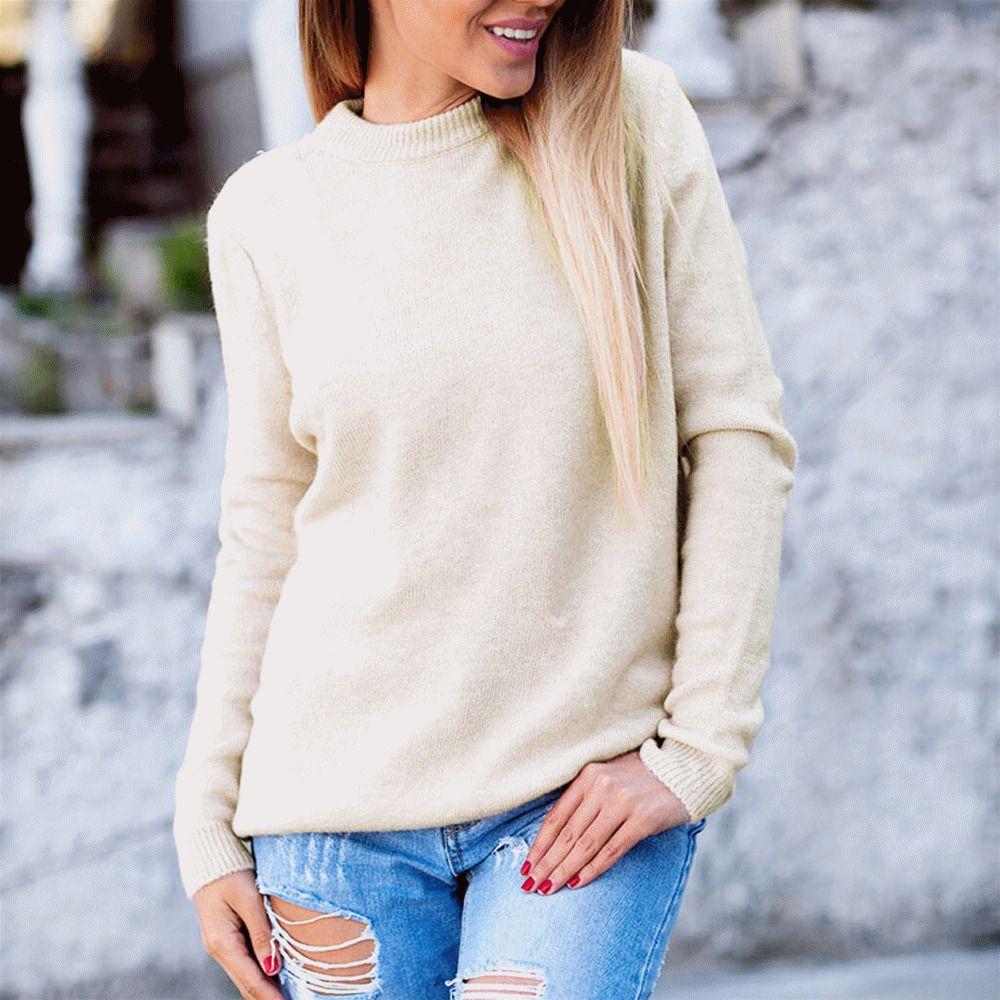 4ce52e8cc5 Compre Sexy Mujer Otoño Invierno Sin Cuello O Sin Espalda Manga Larga Jersey  Suéter Top Suéter Para Las Mujeres Y Suéter Buzo De Dama A  27.65 Del ...
