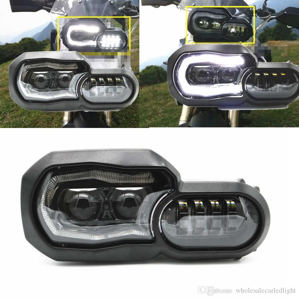 2017 New Motos Accessories LED halo Headlight Hi/Lo Assembly Replace for BMW F800GS & F700GS Motorcycle Headlamp With Angle Eyes