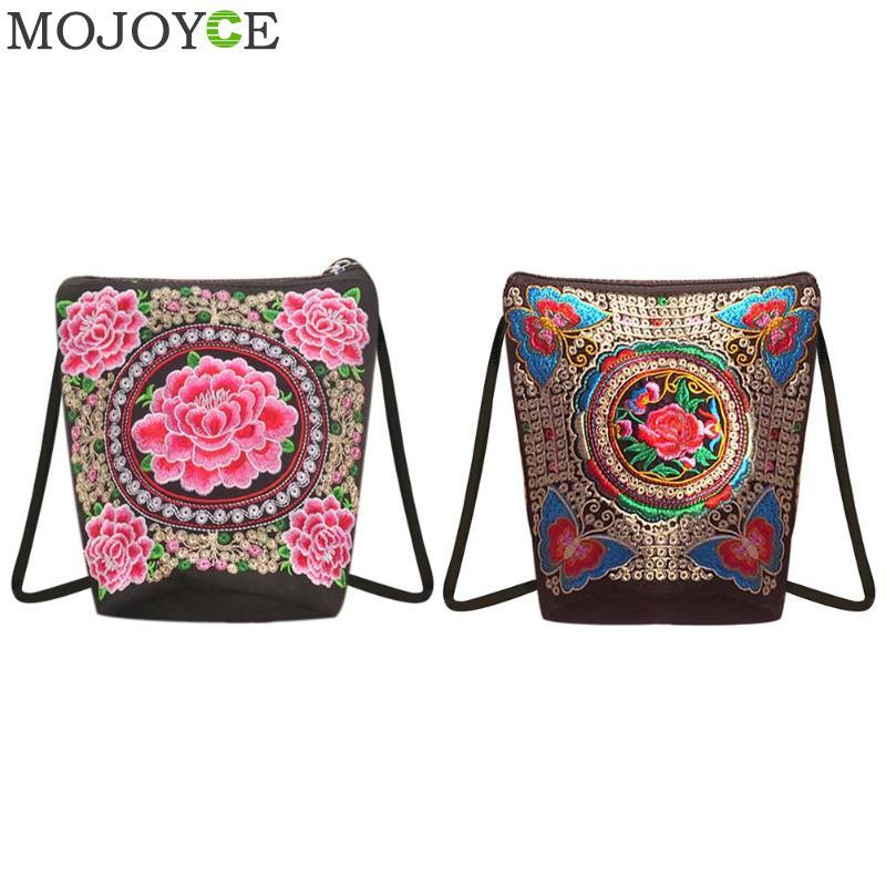 05c034d31d Chinese Vintage Embroidery Bag National Ethnic Embroidered Canvas Shoulder  Bag Zipper Mini Messenger Bags Small Coins Phone Backpack Purse Leather Tote  From ...
