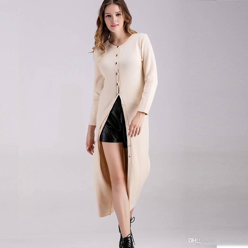 2f8f72993373 Acquista Fashion Lady Girl Donna Tinta Unita Abito Lungo A Maniche Lunghe  In Maglione A Maniche Lunghe A  27.35 Dal Xinmaijia3