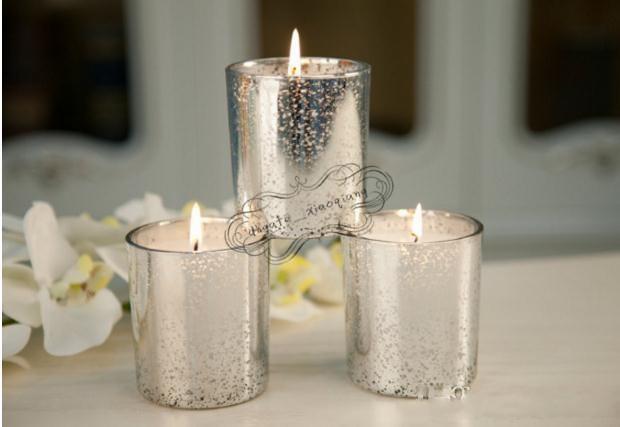 Wholesale Glass Tealight Candle Holder Silver Gold Color Festival Souvenir Party Decoration Wedding Favor