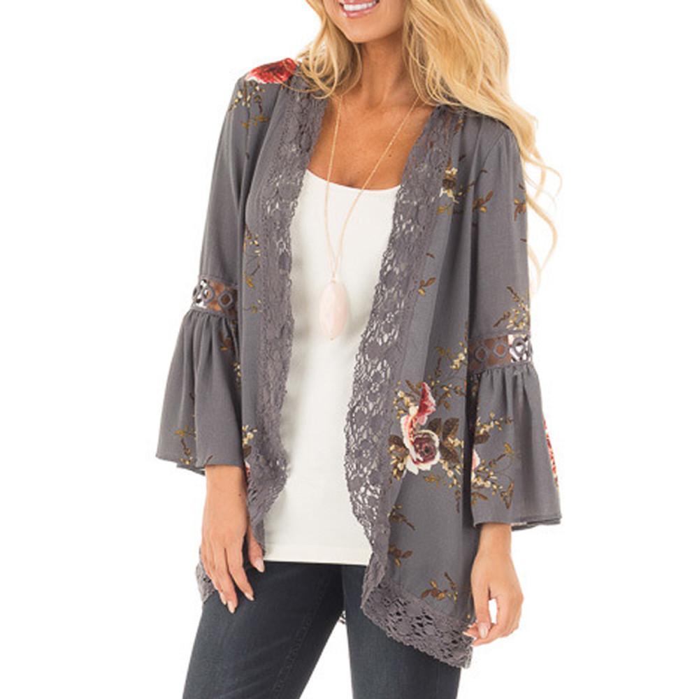 9305477bb981 2018 Summer Women Floral Lace Jacket Kimono Tops Open Front Coat Jackets  Flare Sleeve Cardigan Casual Ladies Womens Brief Shirt Flight Jackets  Custom ...