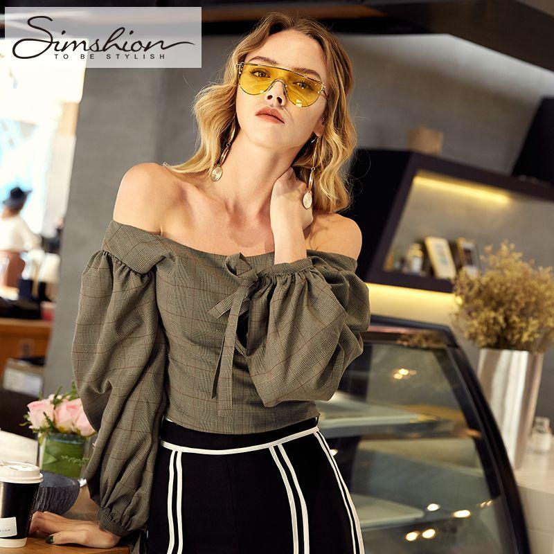 Simshion Mulheres Puff Mangas Blusa Camisas Xadrez Curto Moda Casual O-pescoço Femal Tops M L