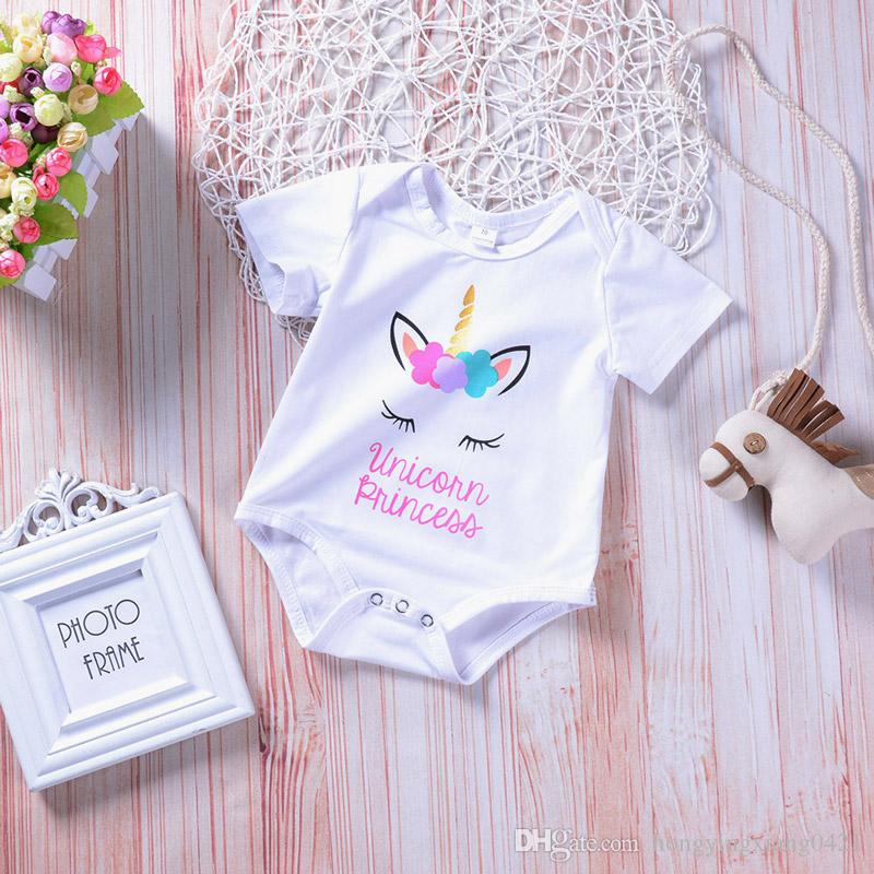 ca464daadca8 2019 White Unicorn Baby Girl Romper Cotton Kids Jumpsuit Clothing Short  Sleeve Body Suit Cute Girls Toddler Letter Print Rompers Suits GD165A From  ...