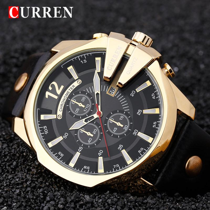 CURREN Gold Man Watch Men Watches Top  Male Wristwatch Golden Quartz Montre Homme Relojes Hombre Clock Men 8176