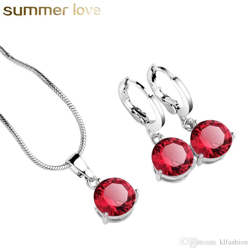 dd8193dcb Wholesale Newest Trendy Sliver Gold Red Copper Long Crystal Jewelry Sets  For Woman Charm Pendants Necklace Earrings Elegant Wedding Jewelry Gift  Emerald ...