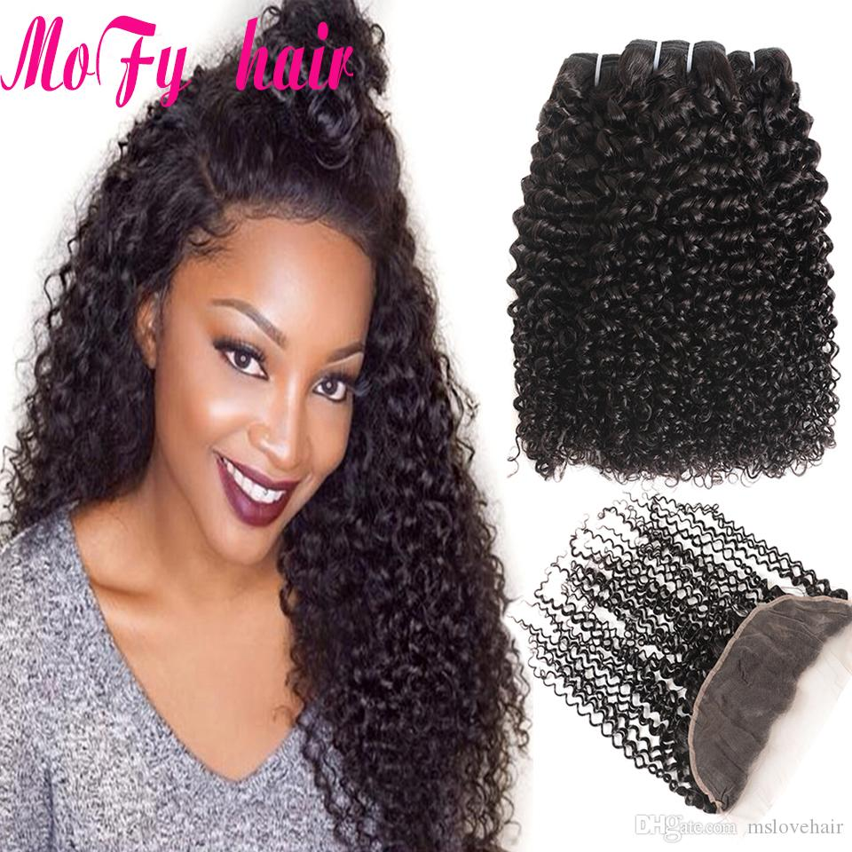 Human Hair Weaves 3/4 Bundles With Closure Mongolian Kinky Curly Hair Bundles With Closure 13*4 Pre Plucked Frontal Remy Wet And Wavy Human Hair 3 Bundles With Closure Products Hot Sale