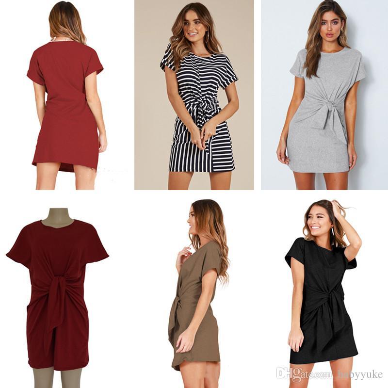 648e3213f60d7 Compre Vestidos Informales Ropa De Verano Para Mujeres Vestido Suelto De  Manga Corta Vestidos De Color Sólido A Rayas Para Mujeres Ocasionales 175 A   12.32 ...
