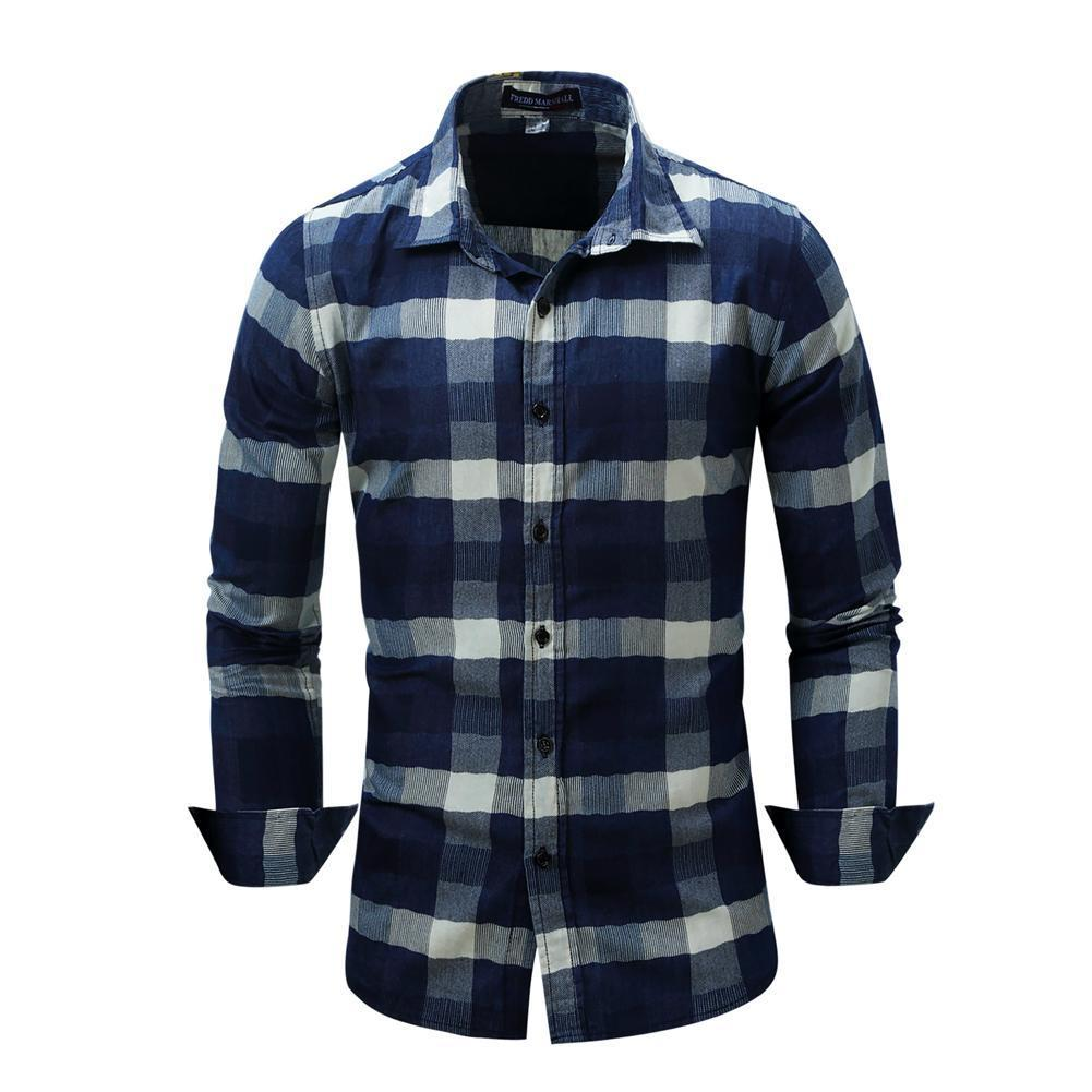 Men's Shirt Fashion Denim Shirts Casual Stylish Jean Tops Soft Material Long Sleeve Mens Plaid Shirt