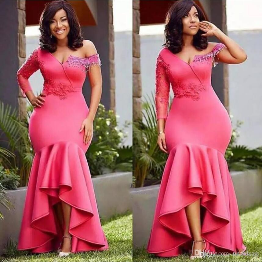 7dc7a8618f8f1 Aso Ebi 2019 High Low Evening Dresses Formal Mermaid Dresses Style African  Fuchsia Lace Beaded Trumpet Plus Size Occasion Prom Gown Semi Formal  Dresses Ball ...