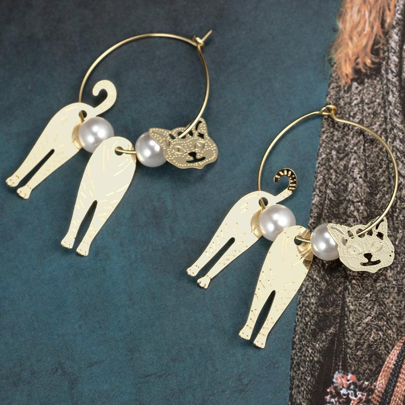 Pendientes de suposición del gato atractivo lindo Diseño Hippie color simulado gran círculo de la perla del oro que cuelga el pendiente para las mujeres Pendiente joyería