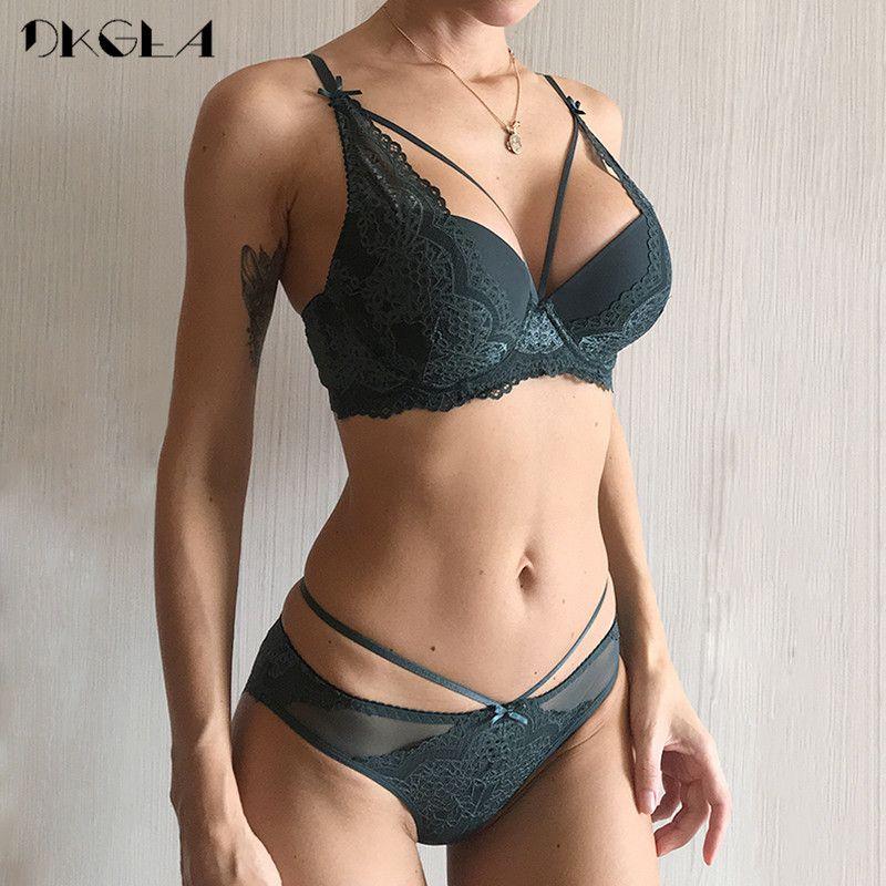 16854f74d8 New Green Underwear Set Women Bra Push Up Brassiere Cotton Thick Black  Gather Sexy Bra Panties Sets Embroidery Lace Lingerie Set C18111601 Garter Sets  Lace ...
