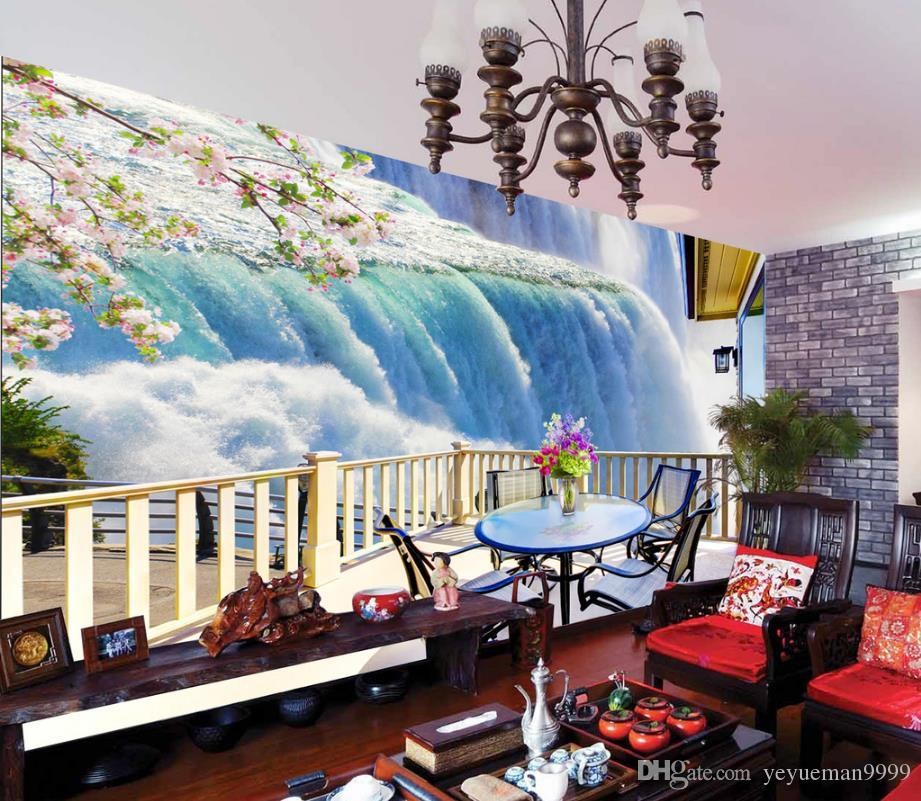 Custom 5d Mural Wallpaper Living Room Waterfall 3 D Wallpaper For Walls  Sofa Tv Background 3d Photo Wallpaper Cellphone Wallpaper Cellphone  Wallpapers From ...