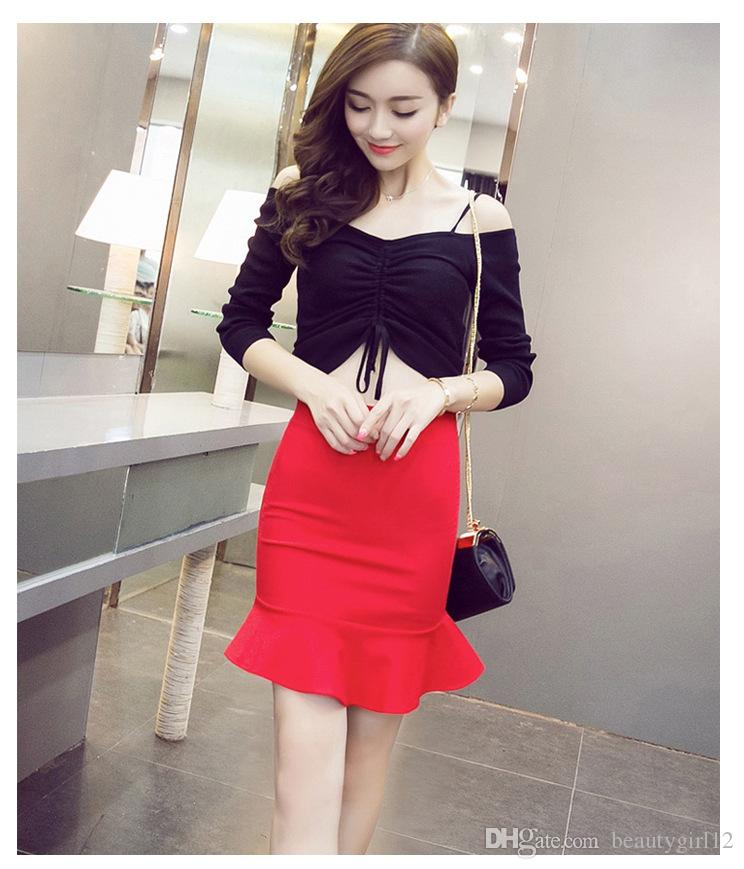 Four seasons joker falbala fishtail package hip elastic bust skirt of tall waist skirt han edition cultivate one's morality show thin