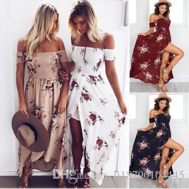 7840c56f950 Summer 2018 Hot Boho Style Beach Dresses Floral Print Vintage Chiffon White  Maxi Dress Vestidos De FestaTee Dress Cute White Summer Dresses Clothing  Dresses ...