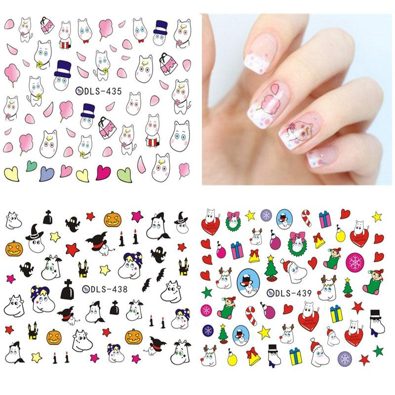 DLS418 439 2017 Water Transfer Foils Nail Art Sticker Nails Cartoon ...