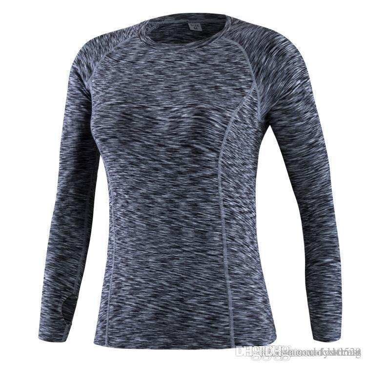 Women S Long Sleeve Fitness Basketball Running Sports Yoga T Shirt Women S  Autumn Tops Gym Compression Tight Tees F02 Trendy Mens T Shirts T Shirt  Best From ... 1d95646ce