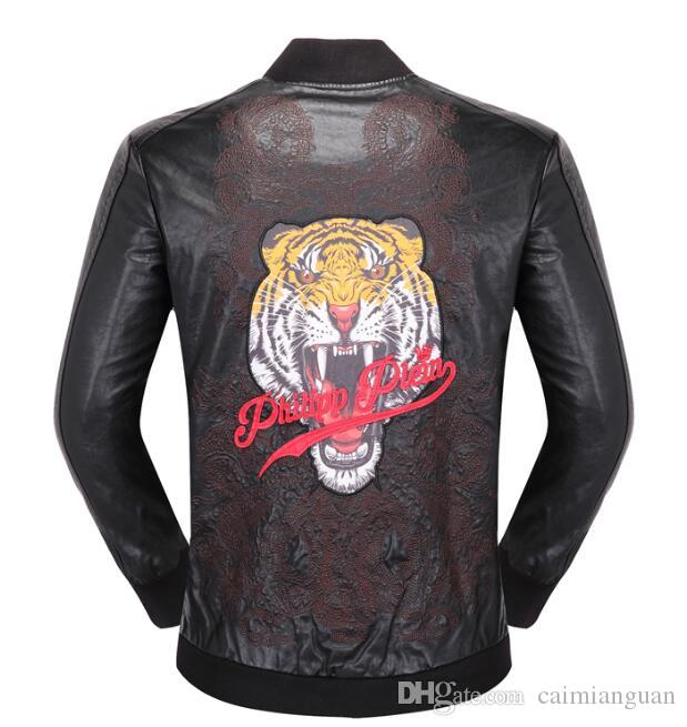 9f57e4f09738 2019 Top Quality Brand Men S PU Faux Leather Jackets Coats Skull Heads  Outerwear Winter Slim For Man Zipper US Dollar Designer M XXXL From  Caimianguan