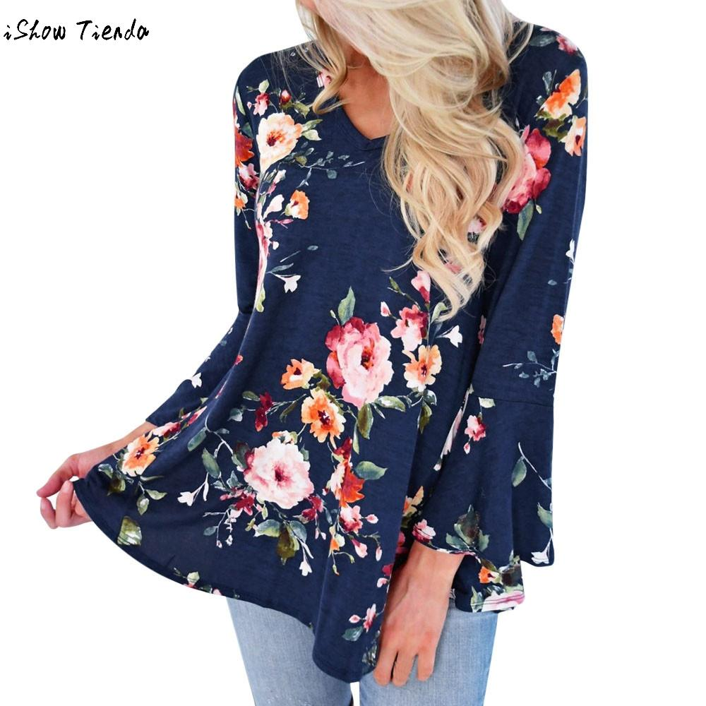 Women's Clothing Womens Blouses And Shirts 2018 Summer Deep V-neck Floral Printed Tunic Shirt Bandage Large Size Tops Loose Blouse Camisa