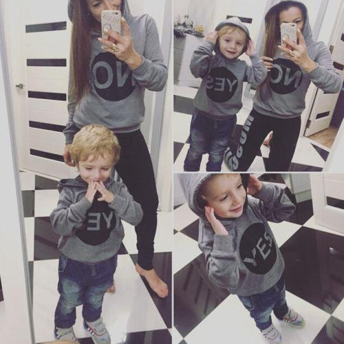 Moda Inverno Família Amor Tops Roupa Mãe Mãe Filho Hoodies Matching Outfit