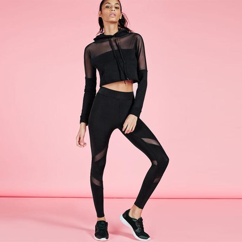 3b56e0c77f3ea 2019 Hooded Mesh Patchwork Sports Wear For Women Gym Yoga Set Breathable Running  Gym Clothing Long Sleeve Sport Set Women From Cumax, $39.78 | DHgate.Com