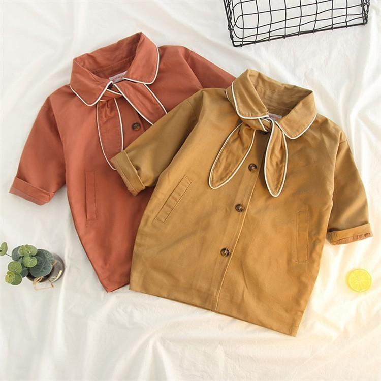aa8ef7dad90a 2 3 4 5 6 7 Years Baby Girl Trench Coat Casual Cotton Kids Jackets ...