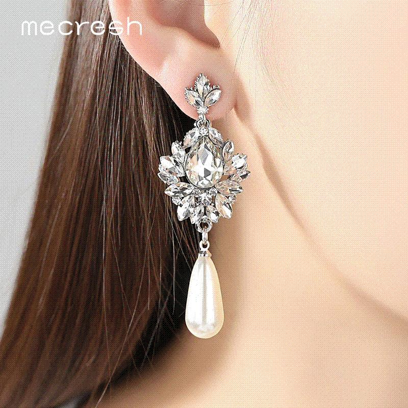 2019 Mecresh Elegant Simulated Pearl Bridal Drop Earrings For Women Flower Crystal  Hanging Brincos 2017 Wedding Jewelry MEH1022 From Minmin001 008abdef6bf6