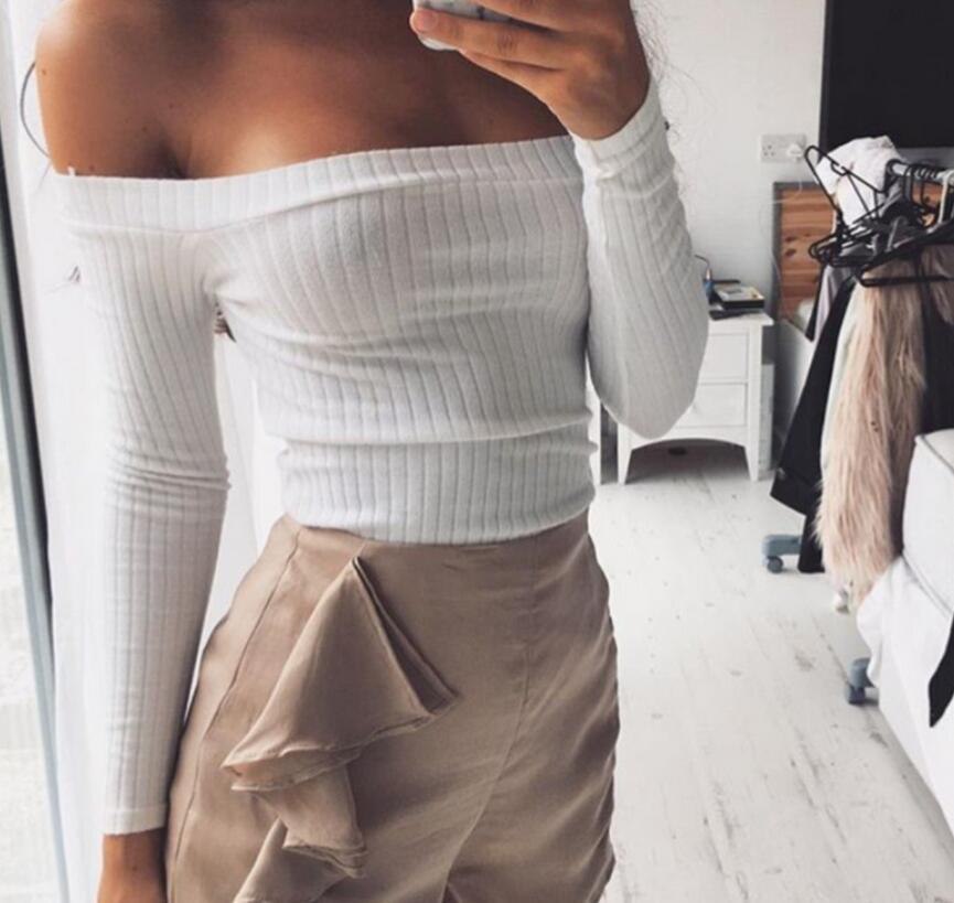 47de0e7a06812 Women T Shirt 2018 Sexy Off Shoulder Crop Top T Shirts Long Sleeve Solid  Short T Shirts For Women Black