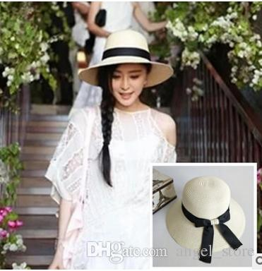 785d4caaf39 Summer Women Bow Sun Hat Ladies Wide Brim Straw Hats Outdoor ...