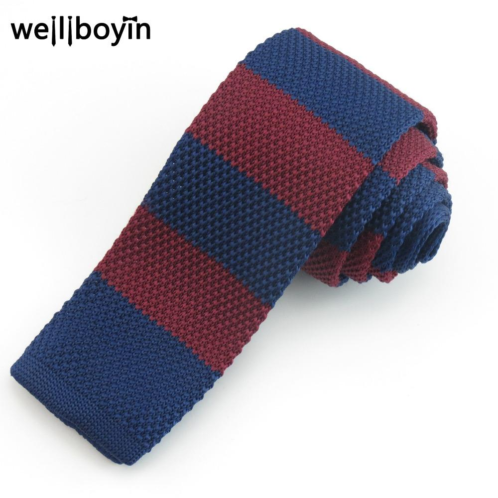 2018 Red Striped Knitted Ties For Men 5.5cm Narrow Men\'S Tie Boys ...
