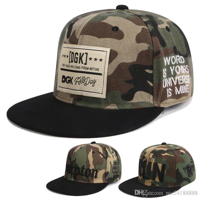 732860eed0e63 Camo Snapback Hat Applique Embroidery DGK Hip Hop Unisex Cotton Hats  Adjustable Snapbacks Cap Mixed Street Rock Popular Men Women Caps Caps Hats  Fitted Cap ...