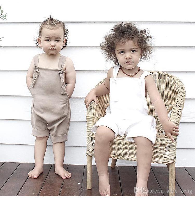 2018 Novo Verão Bebê Meninos Meninas Suspender Sem Mangas De Algodão Macacões Macacões Algodão Bodysuits Bebê Recém-nascido Cáqui