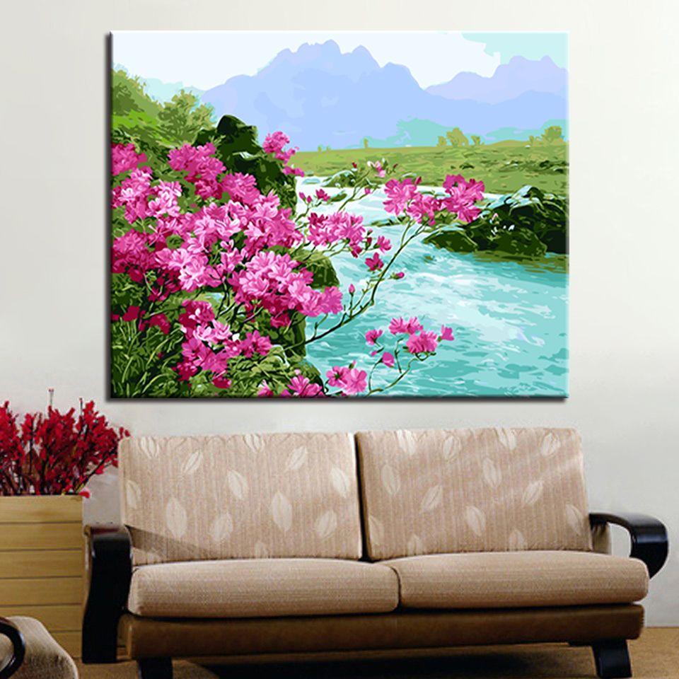 Salon Dekor için Tuval On Handpainted Dağlar Nehirler Çiçek Resimleri Boyama Sayılar Setleri By Çerçeve DIY Yağlıboya Resim