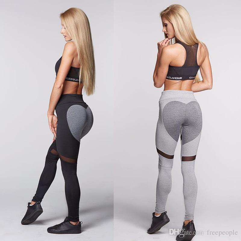d36f68f0059568 Women Sexy Push Up Leggings With Mesh Panel Heart Booty Shape ...