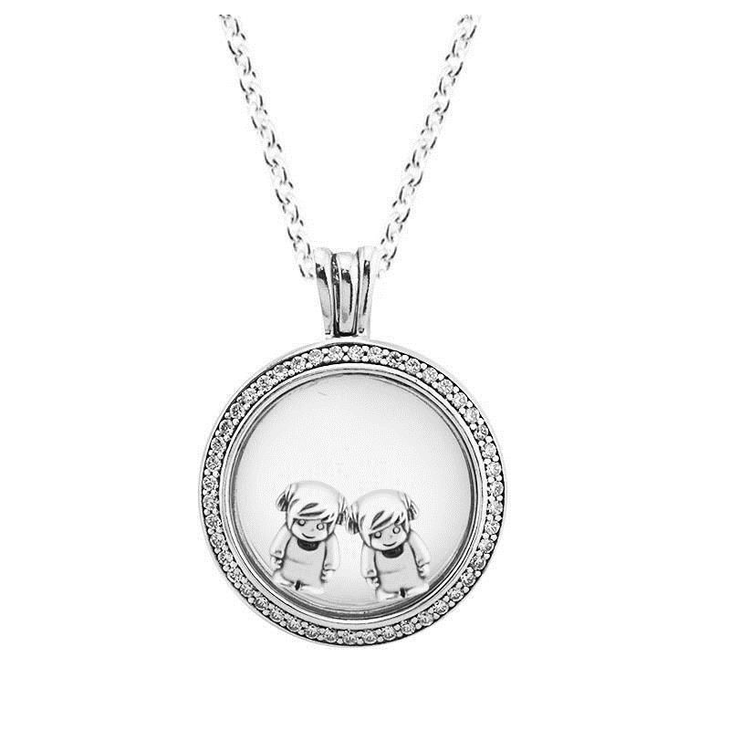 76c53ab58258 Compre Collar 100% 925 Sterling Silver Jewelry Medium Espumoso Firma  Medallón Collar Encaja Pequeño Niño Y Niña Petite Charms Y1892806 A  56.59  Del ...