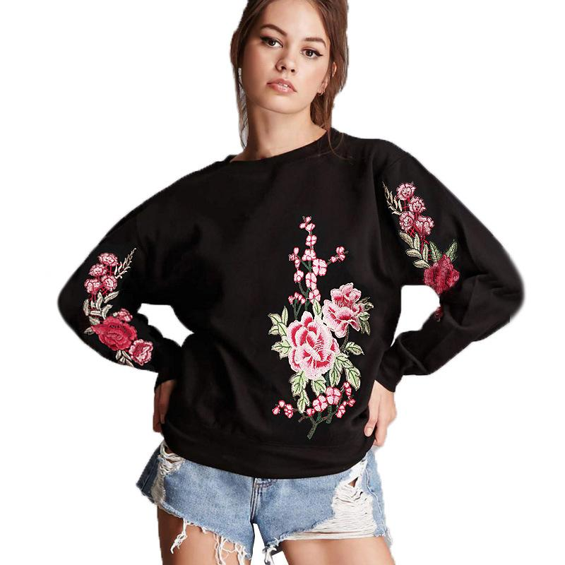 bd34d1ab36e 2019 New Winter Sweater Fashion Tops Rose Embroidered T Shirts Long Sleeved  Round Neck Jacket Coat Women From M13632791091