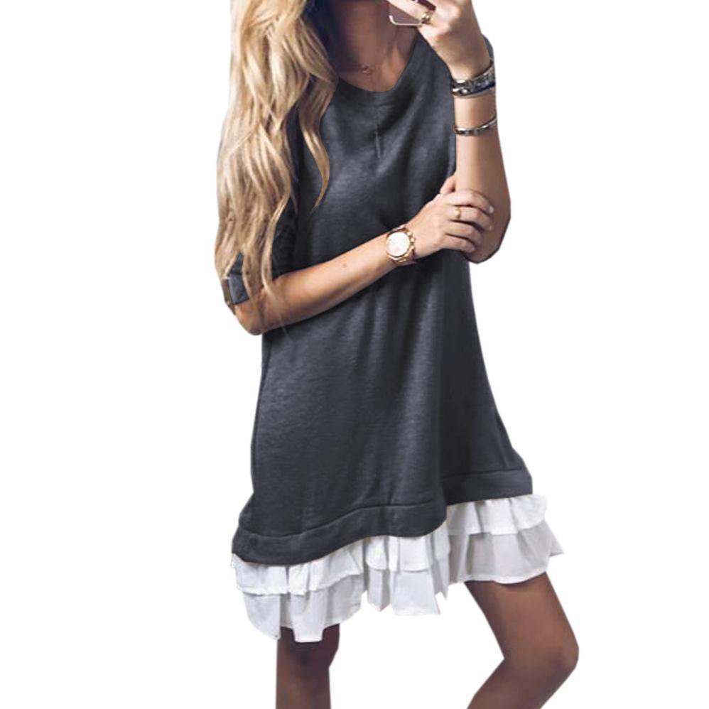 ffe94c8c756 Acheter Ruffles Kawaii Robe En Couches 2018 Printemps Plus La Taille Femmes  A Ligne Robes À Manches Longues Mini Robe Femme Mujer GV291 De  30.92 Du ...