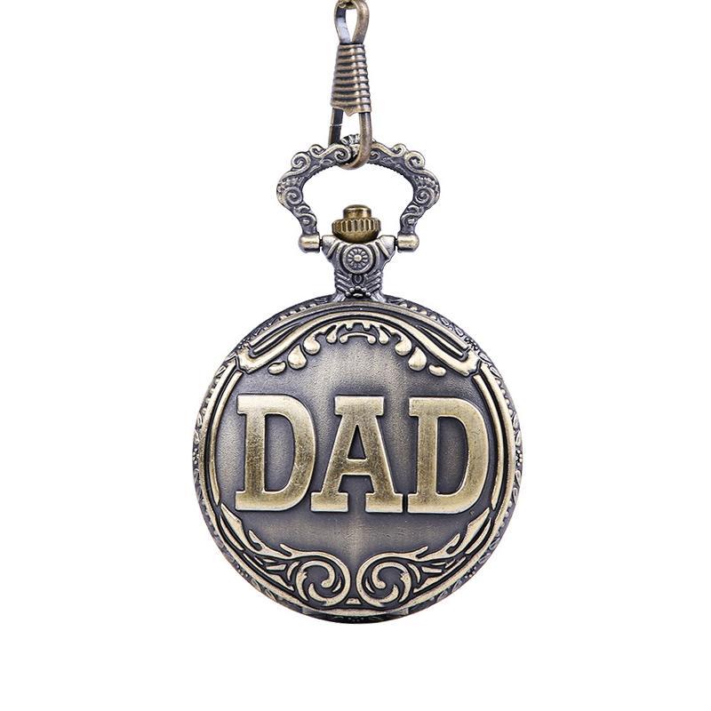 Retro Papa Buchstaben Taschenuhr Bronze Anhänger Uhren mit 42 cm Kette Geschenk für Vater Pappy LXH