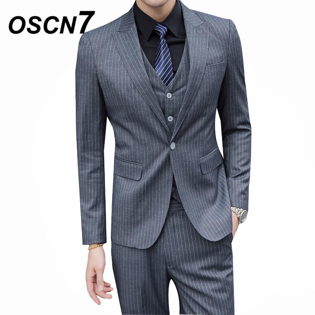 Compre OSCN7 Gris Rayado Para Hombre 3 UNIDS Trajes Tallas Grandes Negocio  Informal Vestido Traje Boda Moda Terno Masculino 6144 A  148.59 Del Yujiu  ... e3ec8c0fea0