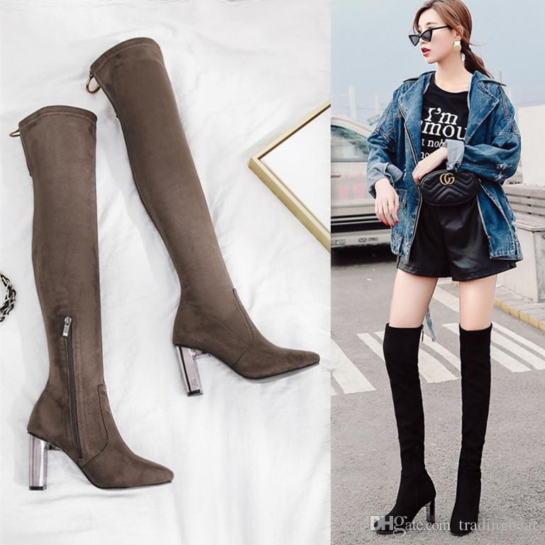 da244651114 Fashion Women Over The Knee Boots Metal Thick Heel Thigh High Boots ...